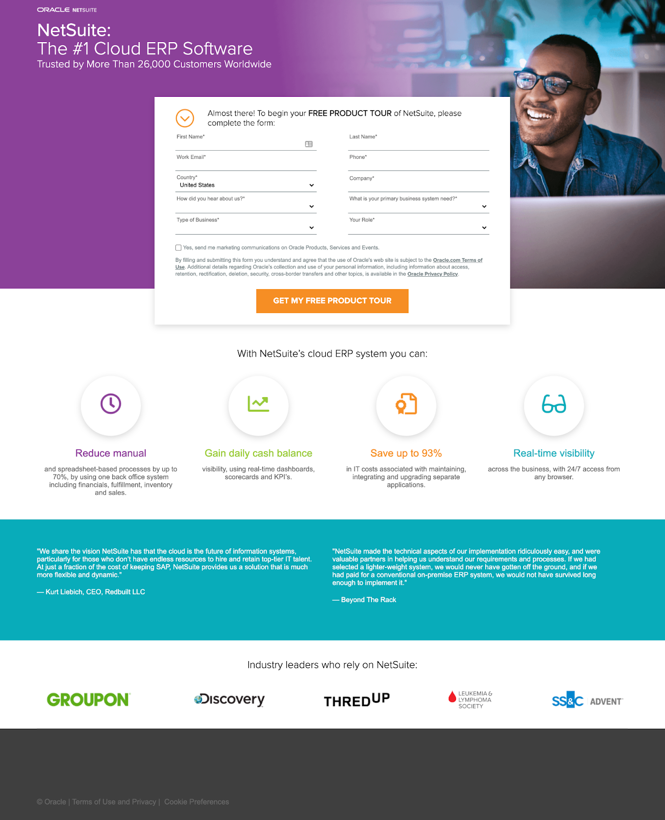 B2B landing pages - netsuite's landing page