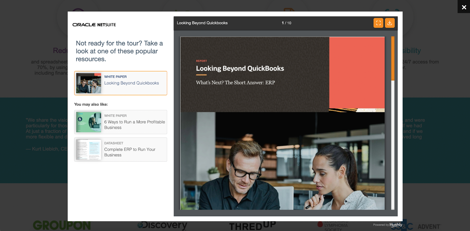 B2B landing pages - netsuite's popup