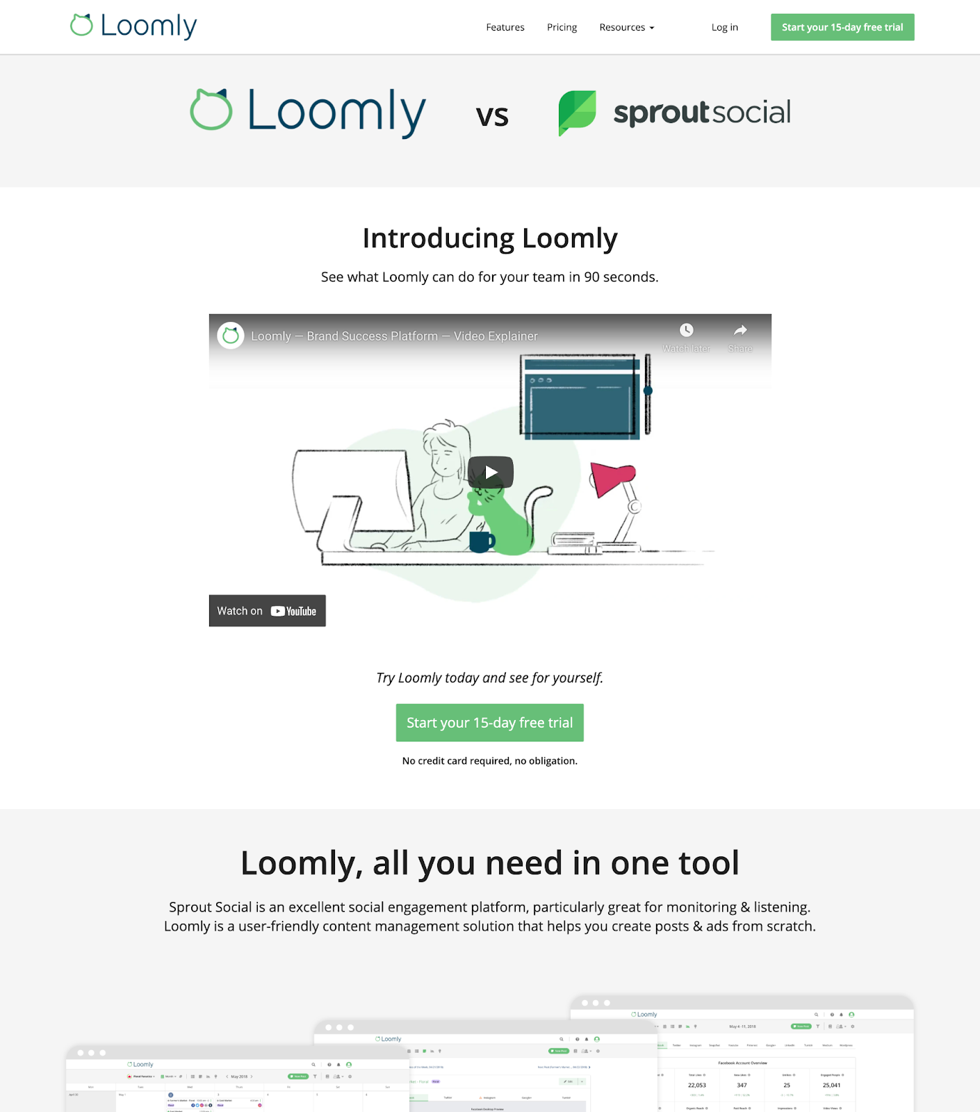B2B landing pages - loomly