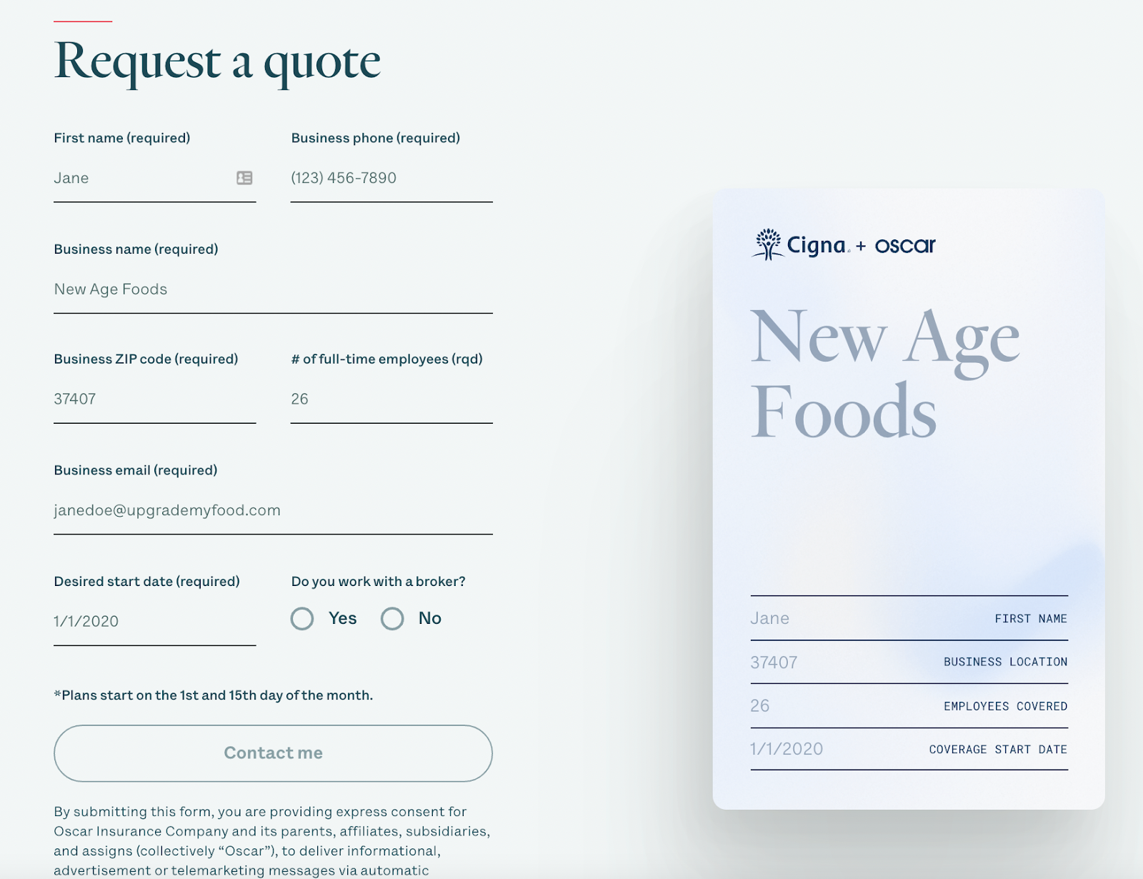 B2B landing pages - oscar request example