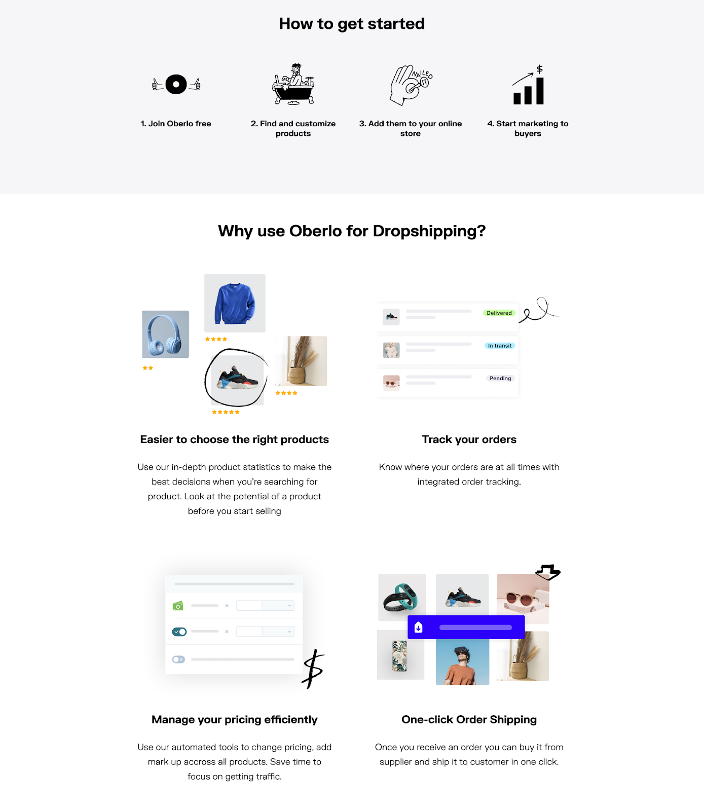 B2B landing pages - oberlo visuals