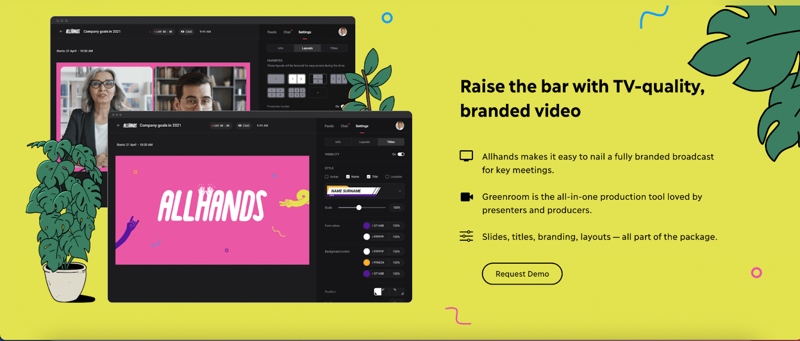 B2B landing pages - allhands product features