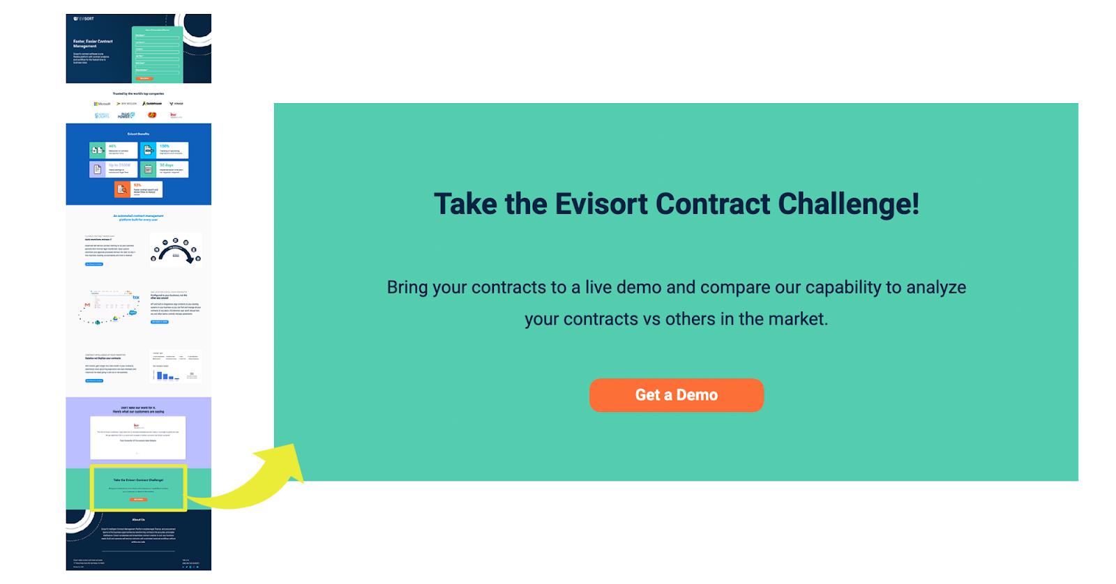 B2B landing pages - evisort
