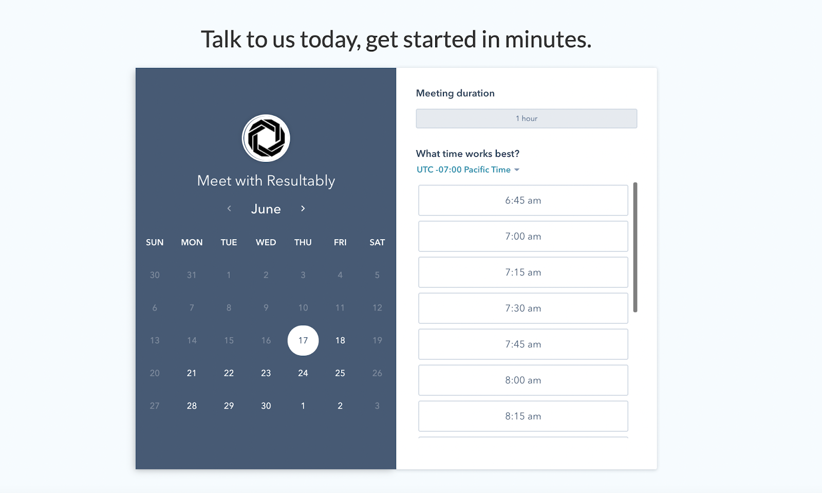 B2B landing pages - resultably embedded scheduler