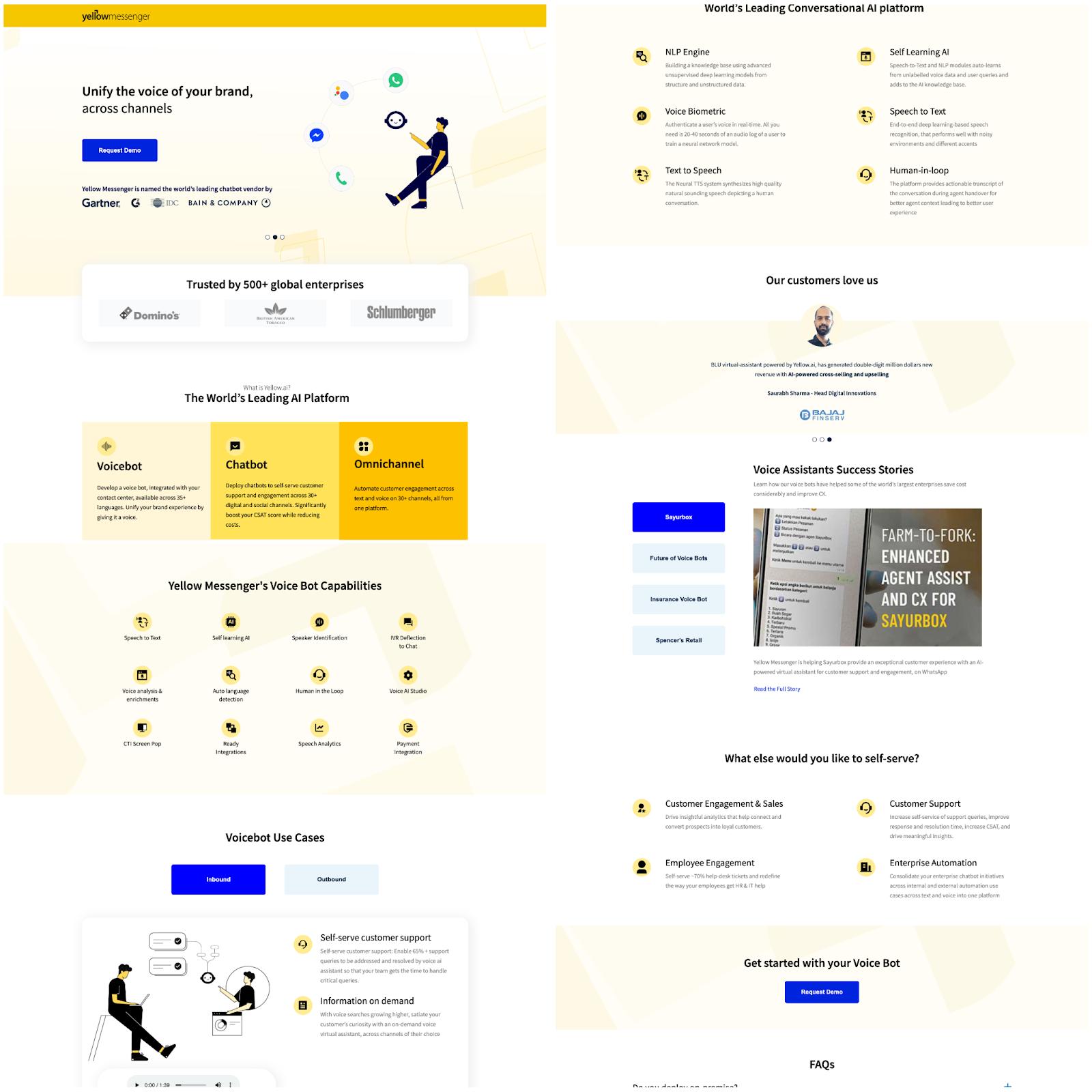 B2B landing pages - yellow messenger
