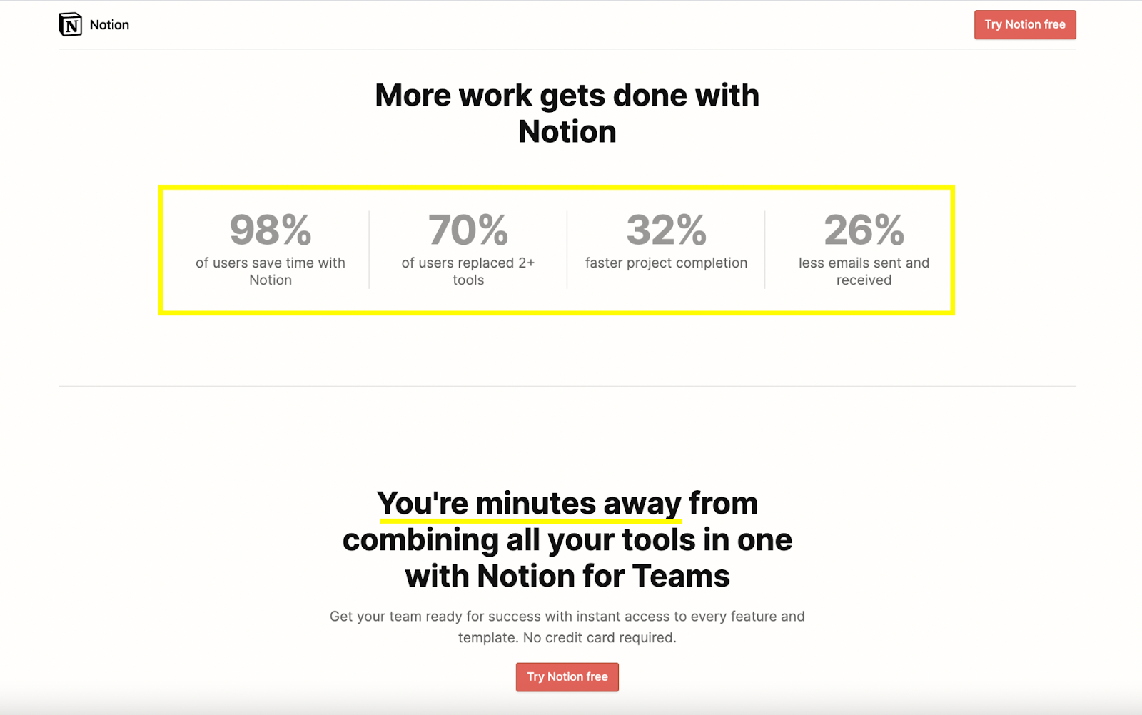 B2B landing pages - notion uses numbers