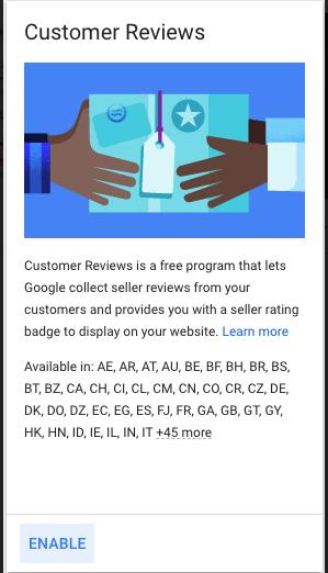 Enabling Customer Reviews program in Google Ads