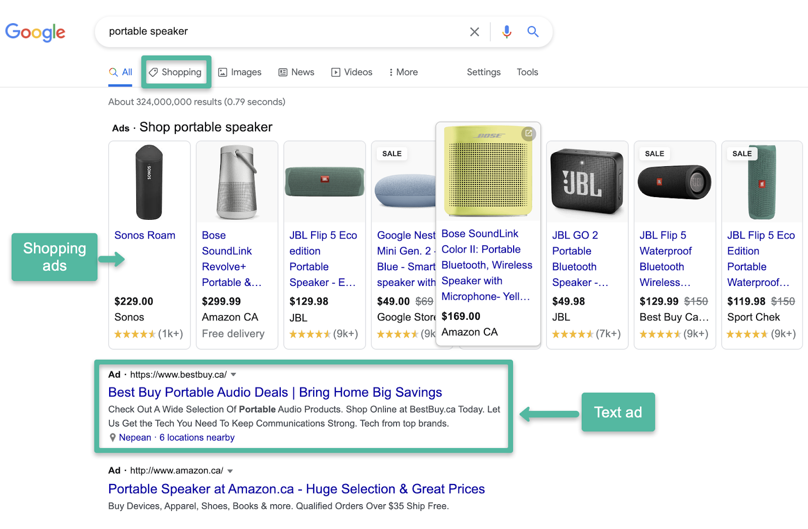 Shopping Ads appear in a carousel at the top. Text ads appear at the top of organic results
