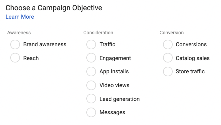 All the different Campaign Objectives an advertiser can bid on