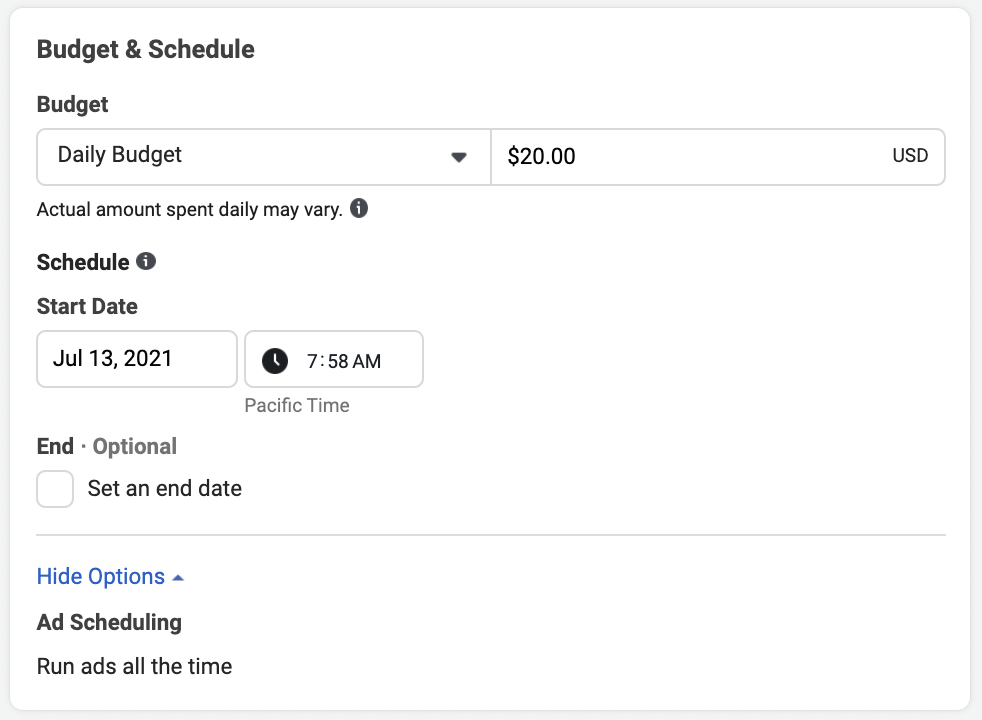 Customize your ad budget & schedule on Facebook