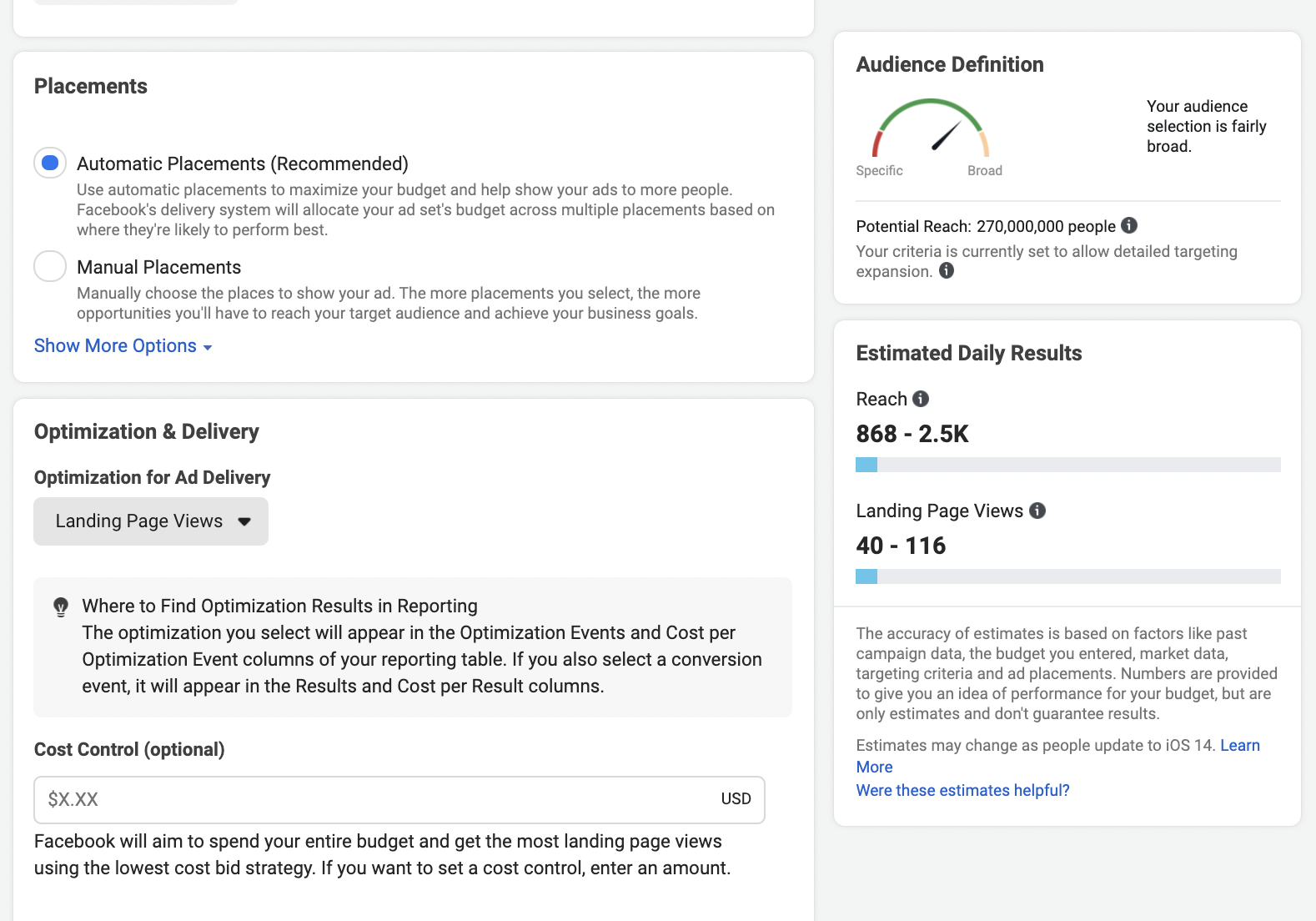 When you change the optimization to landing page views, the reach gets higher