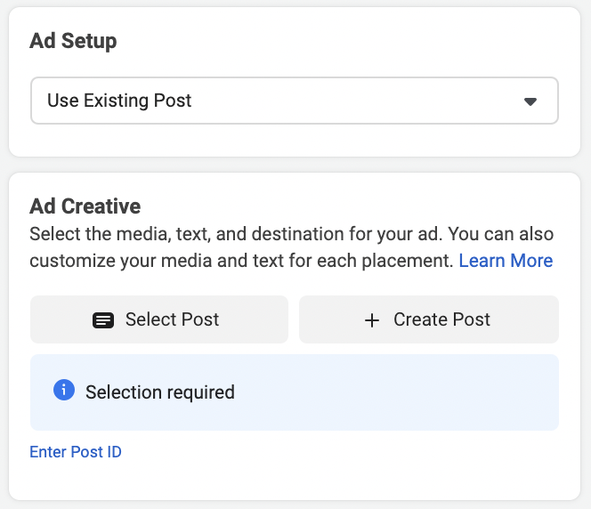 Use an existing post as your Facebook ad