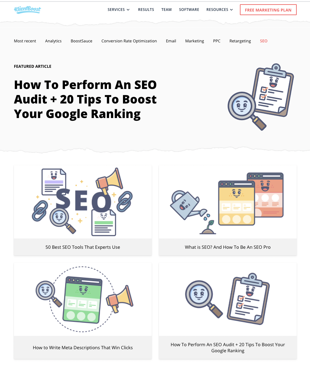 KB arranges all SEO-based articles under the URL: https://klientboost.com/category/seo/