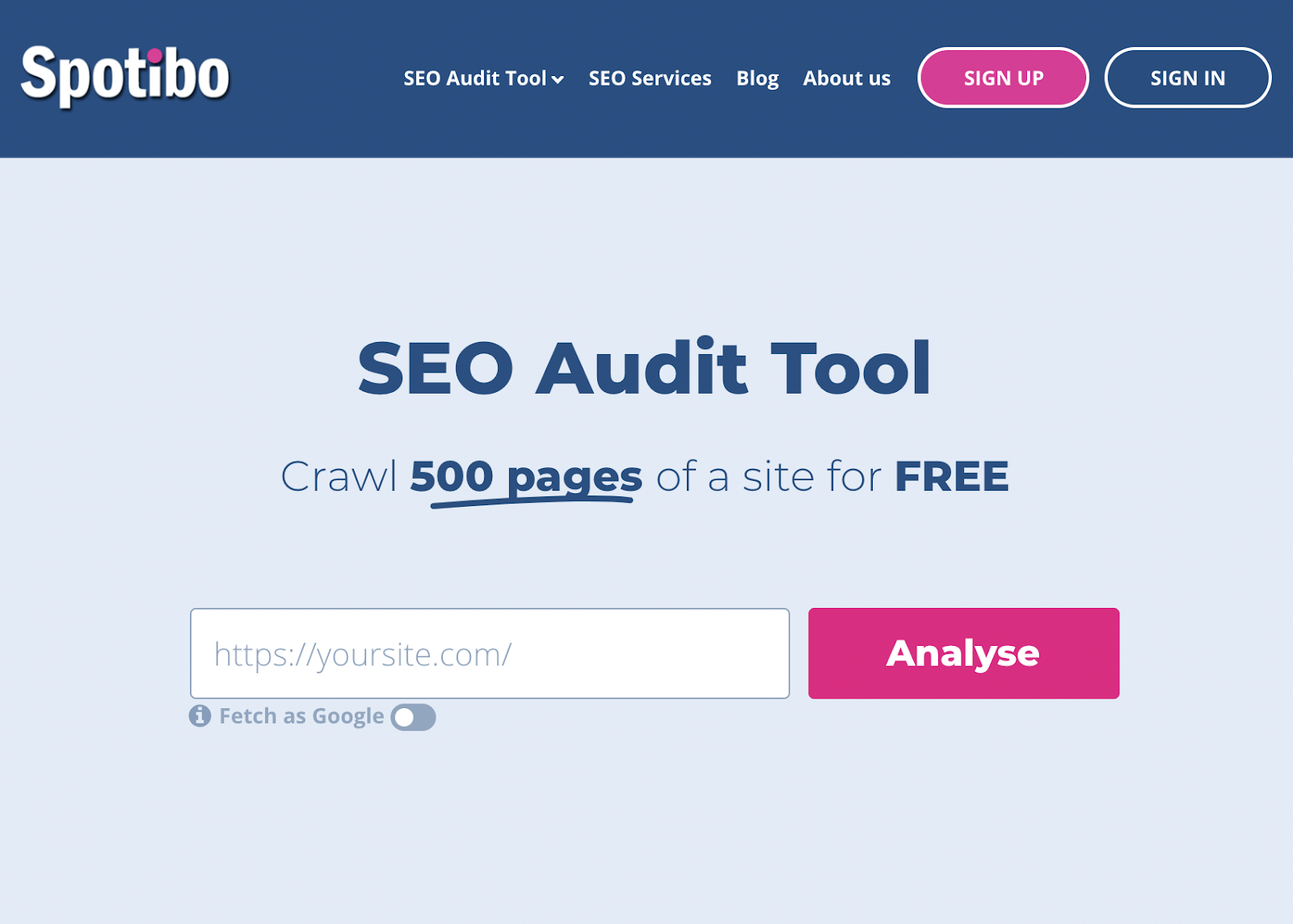 Spotibo is an SEO audit tool that crawls 500 page for free