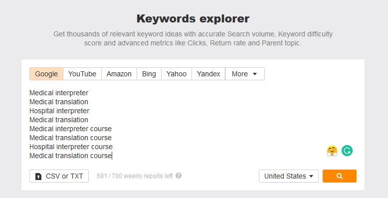 Ahrefs keyword explorer example