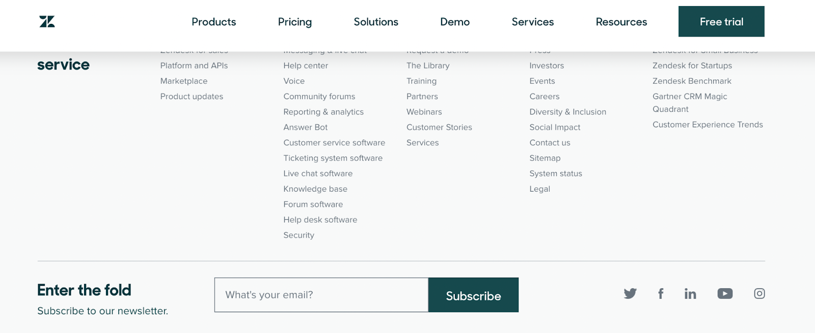 Zendesk's footer with an email signup