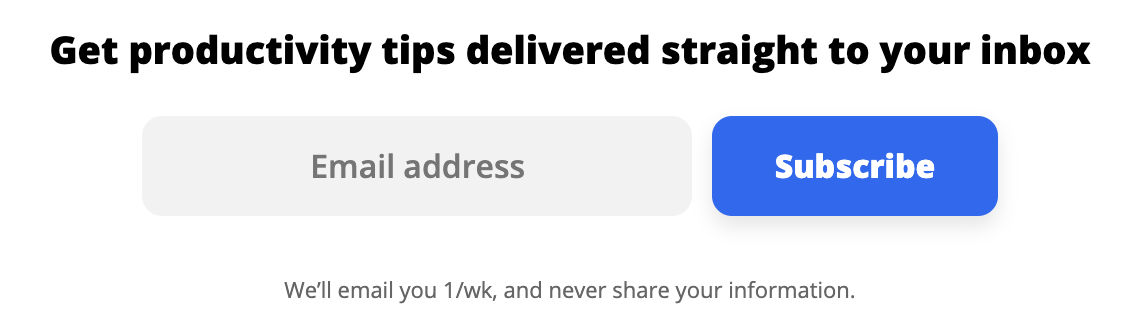 Zapier's email sign-up