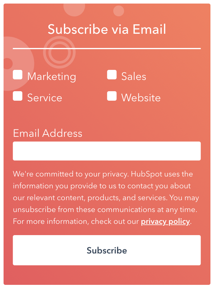 Hubspot email subscription options