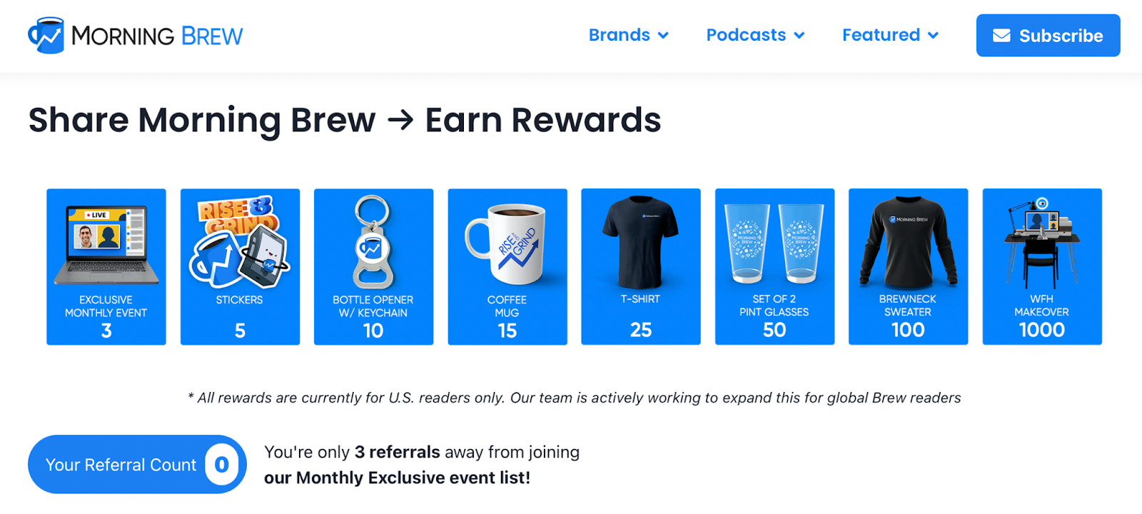 My Morning Brew referral landing page