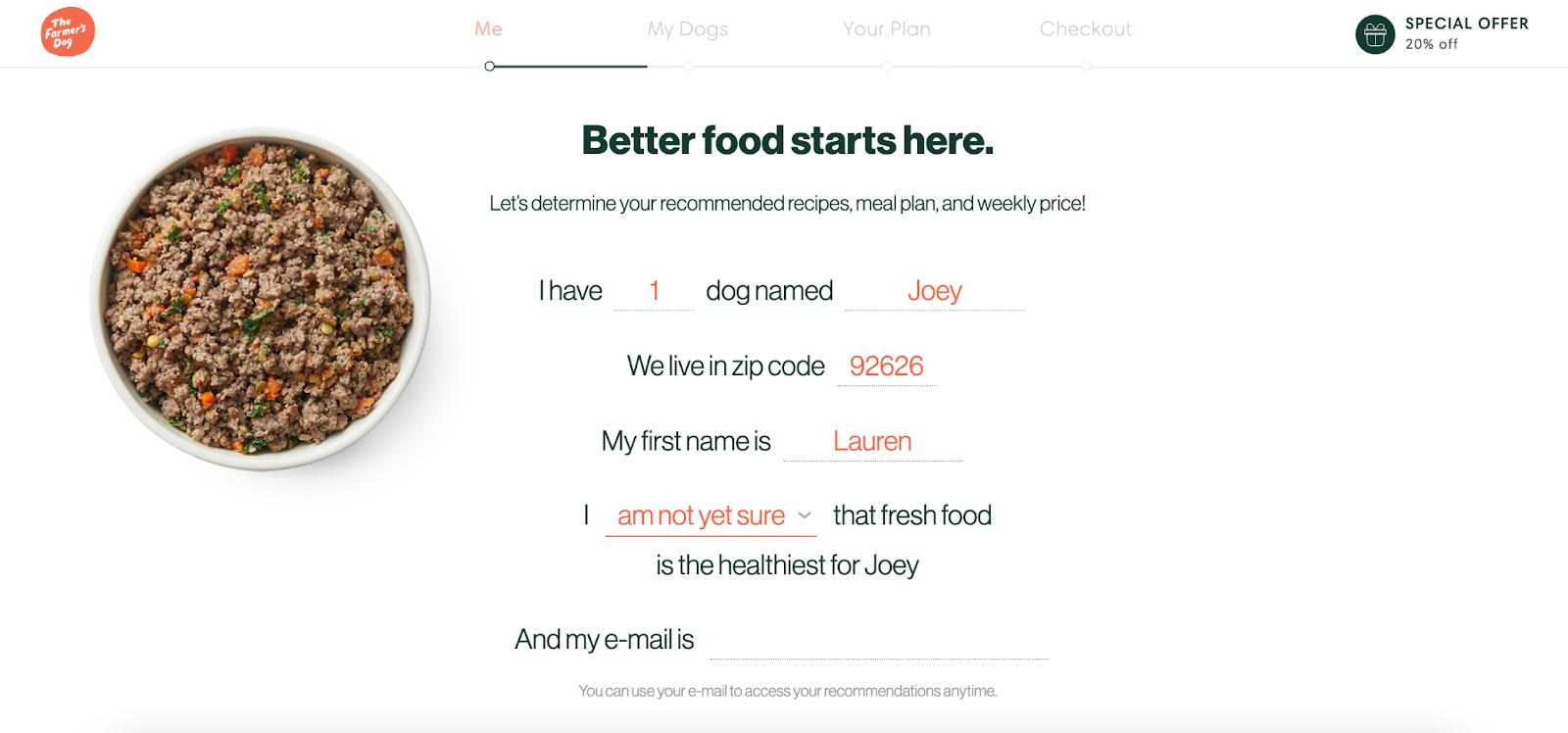 The Farmer's Dog email CTA