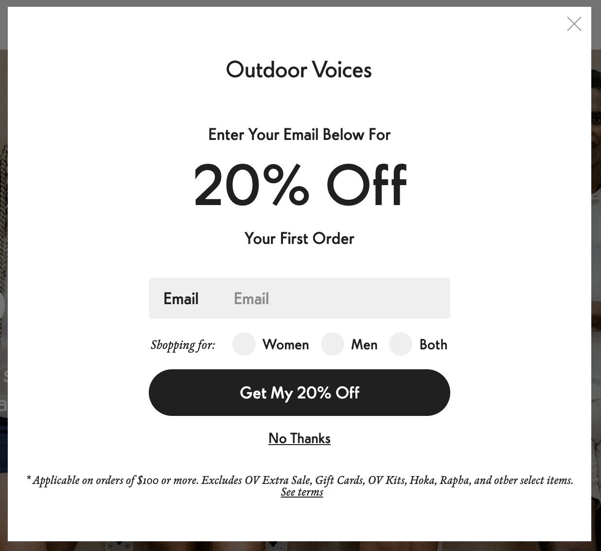 Outdoor Voices' email CTA