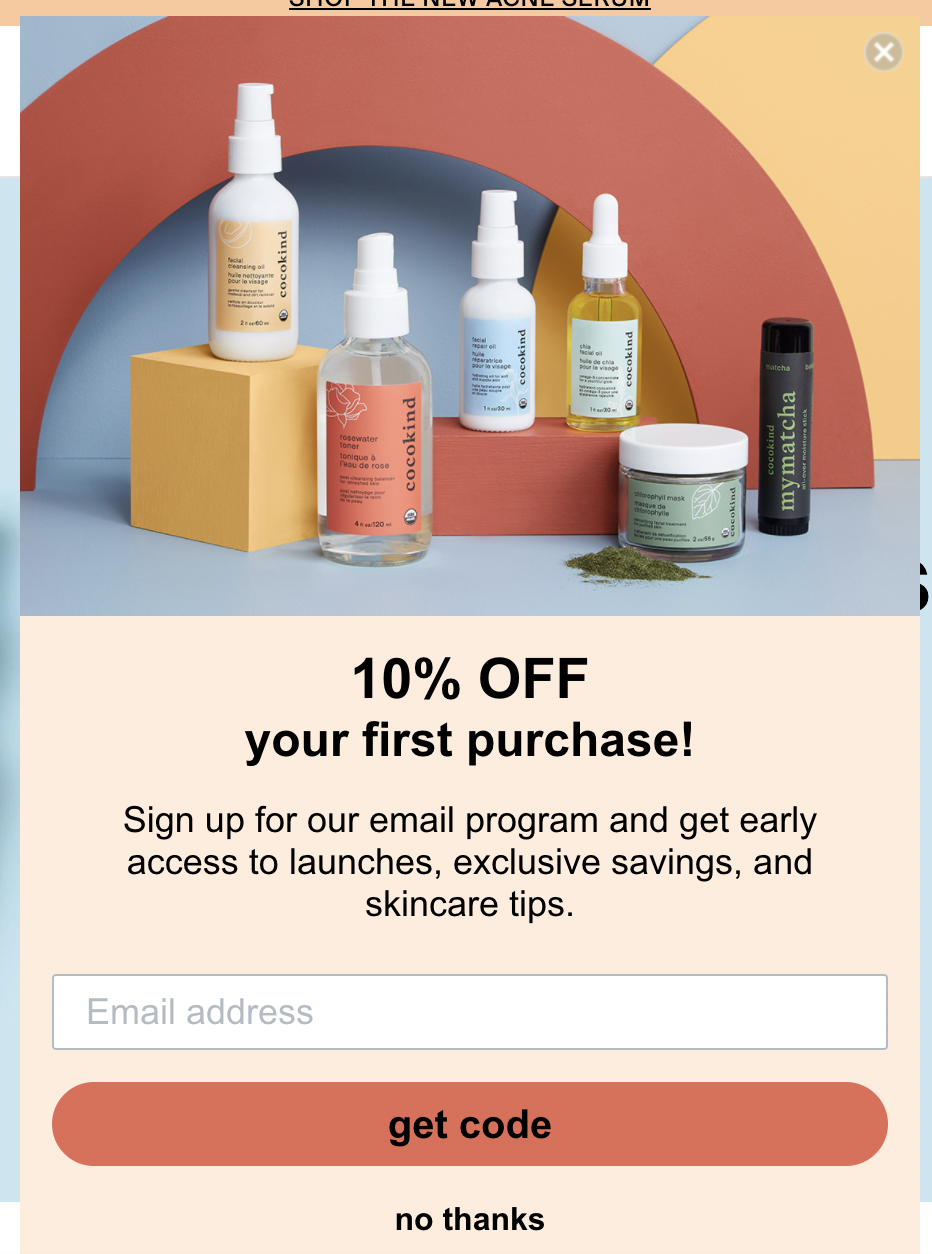 Cocokind's email CTA