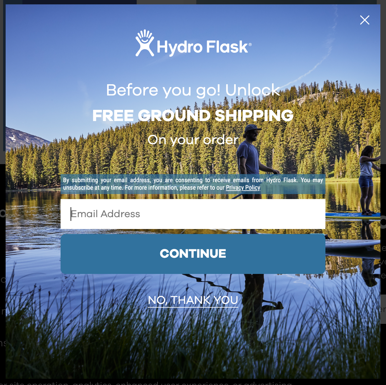 Hydroflask's email CTA