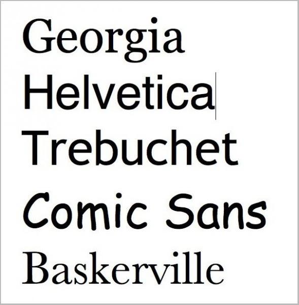 The fonts Georgia, Helvetica, Trebuchet, Comic Sans, and Baskerville– source
