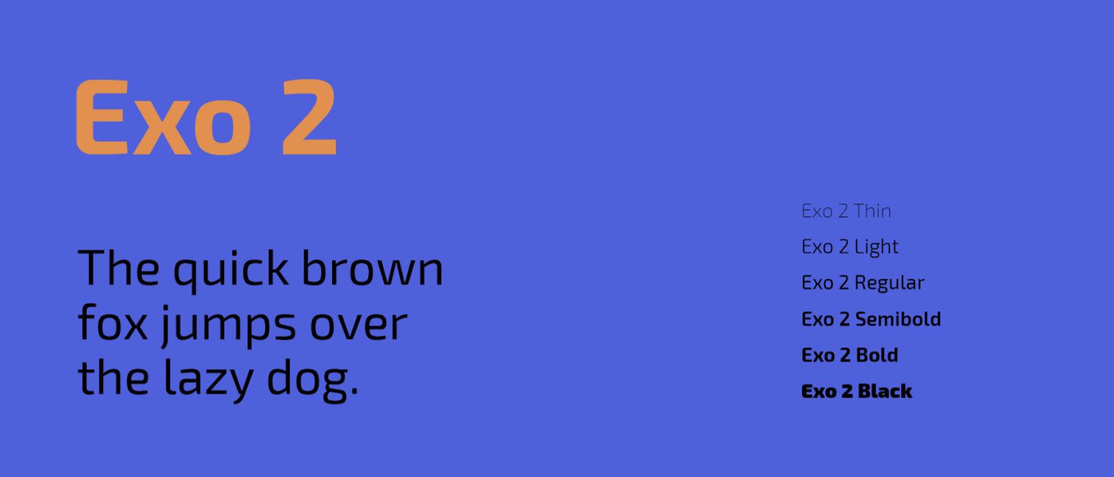 Exo 2 is a playful but simple sans serif web font. – source