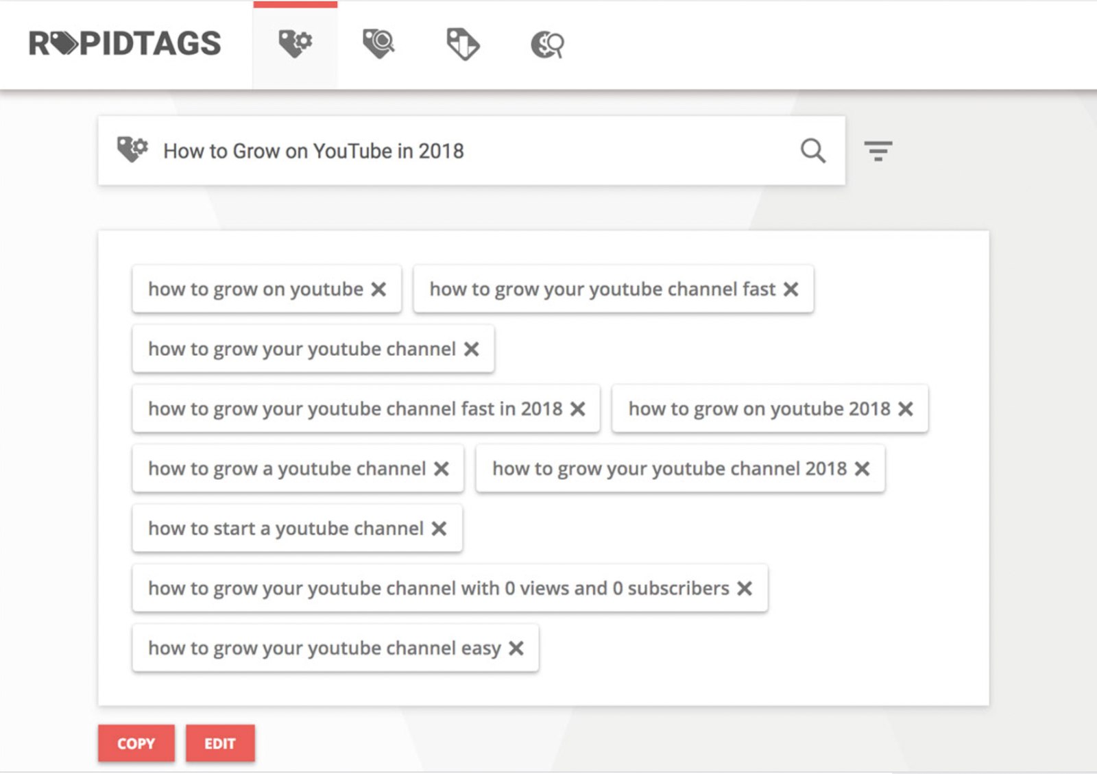 RapidTags generates tags to get you seen on Youtube
