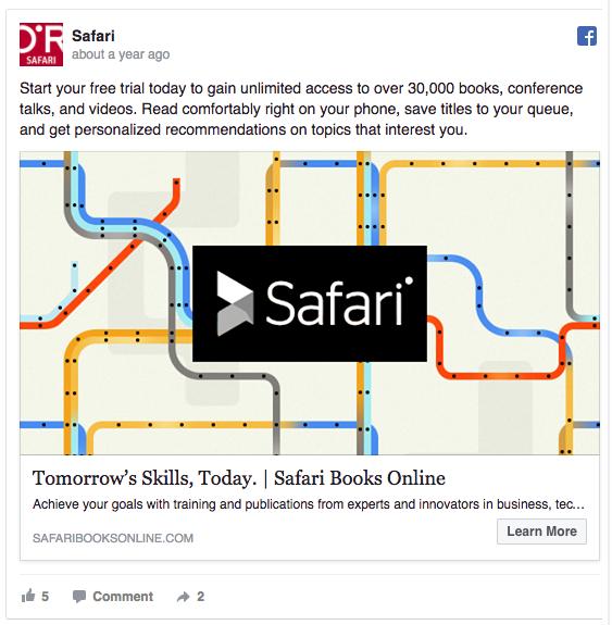 Safari Books Facebook consideration and lead generation ad example