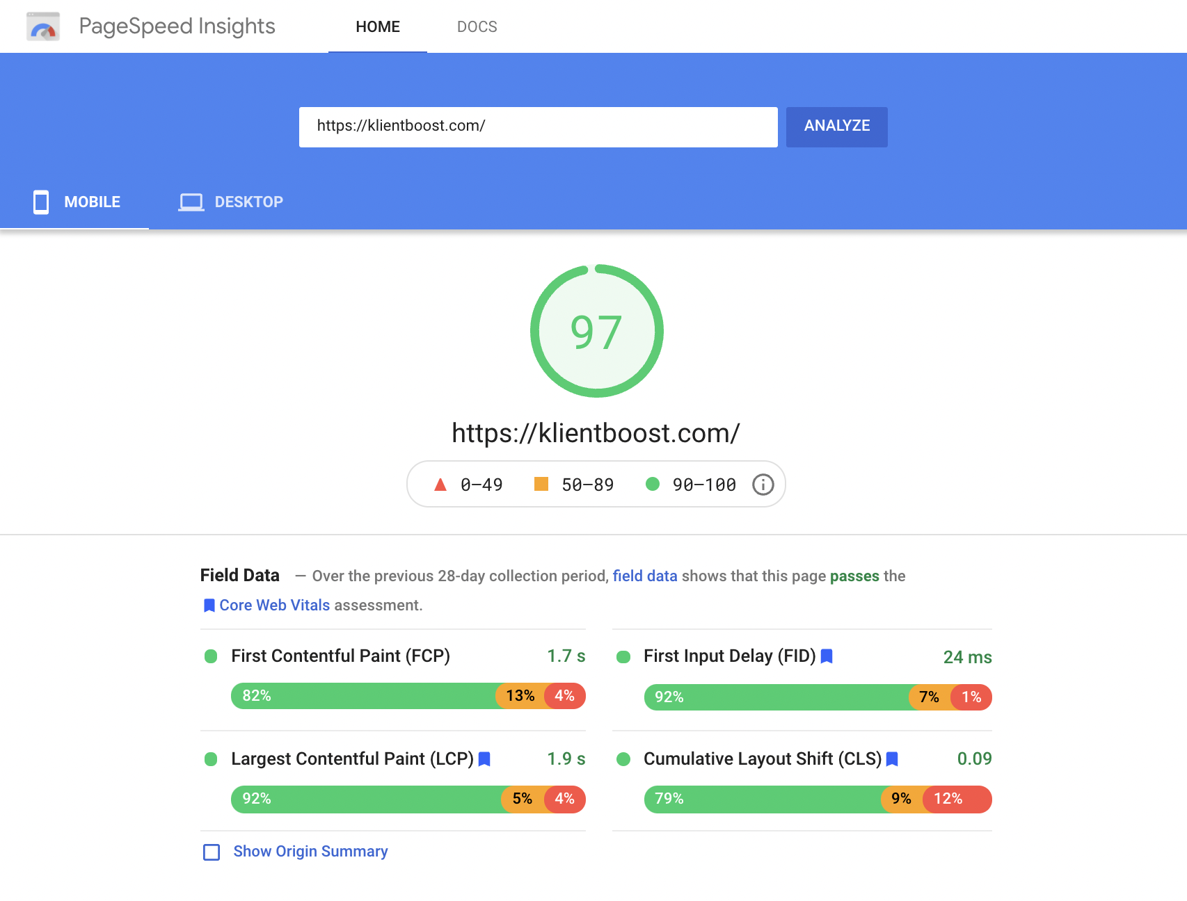 quality score klientboost pagespeed insights