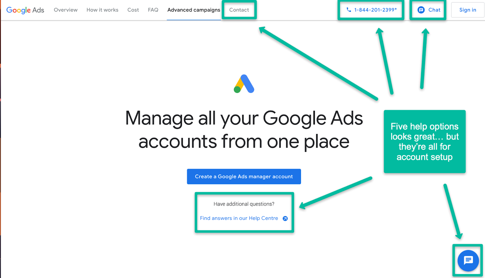 Google Ads Manager help looks like it's overloaded with support options. But every one of these relates to creating your new account and setting up your first campaign