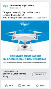 DARTdrones Facebook Ad Example