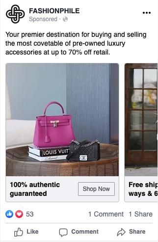 Fashionphile Facebook Ad Example