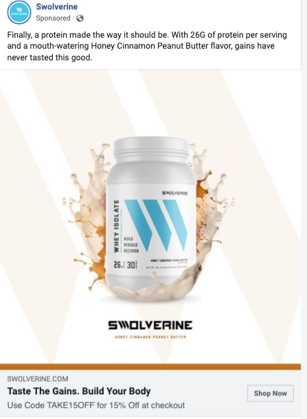 Swolverine Facebook Ad Example