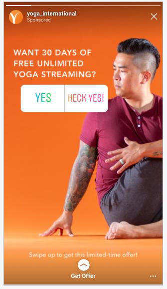 Yoga International Facebook Ad Example