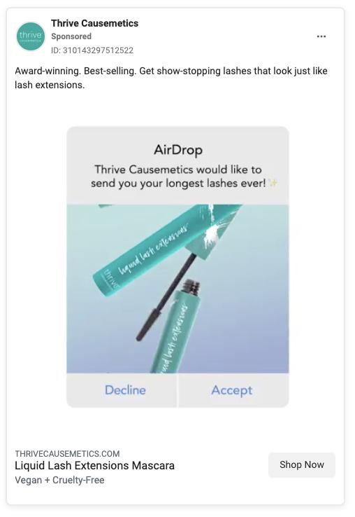 Thrive Causemetics Facebook Ad Example