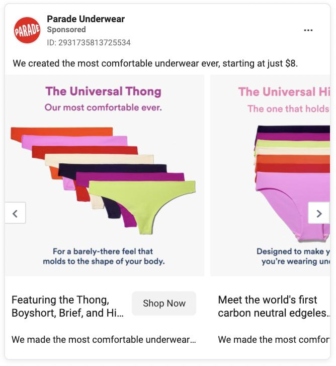 Parade Underwear Carousel Facebook Ad Example