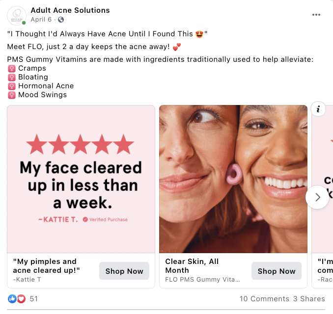 Adult Acne Solutions  Carousel Facebook Ad Example