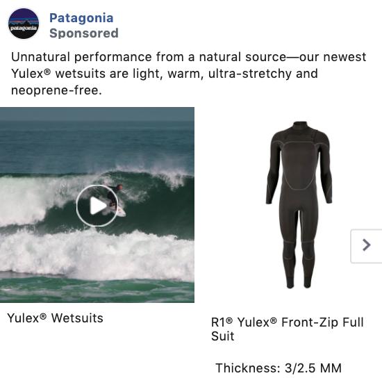 Patagonia Carousel Facebook Ad Example