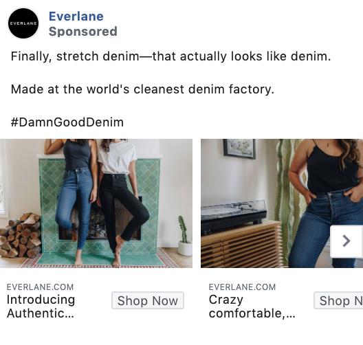 Everlane Carousel Facebook Ad Example