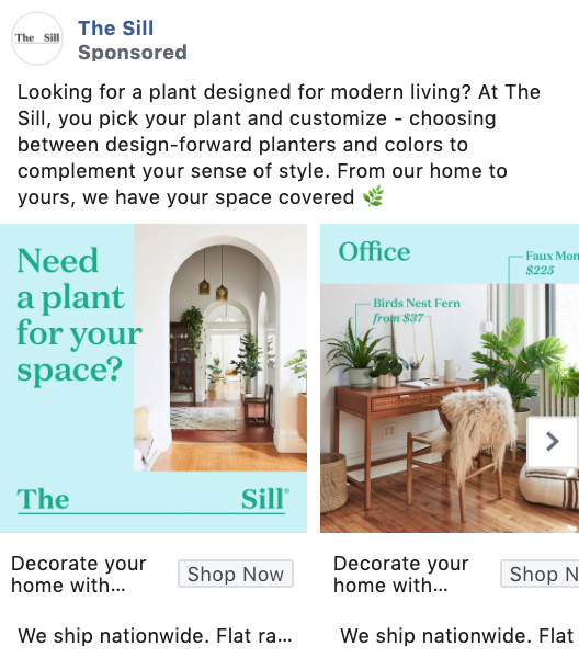 The Sill Carousel Facebook Ad Example