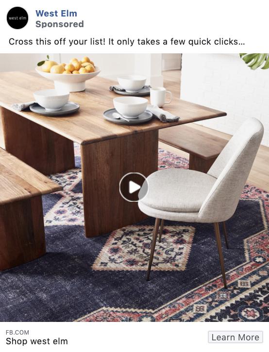 West Elm product-focused Facebook ad example