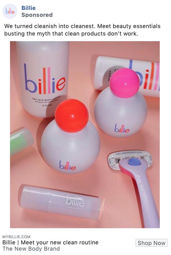 Billie product-focused Facebook ad example