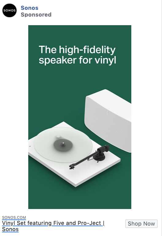 Sonos product-focused Facebook ad example