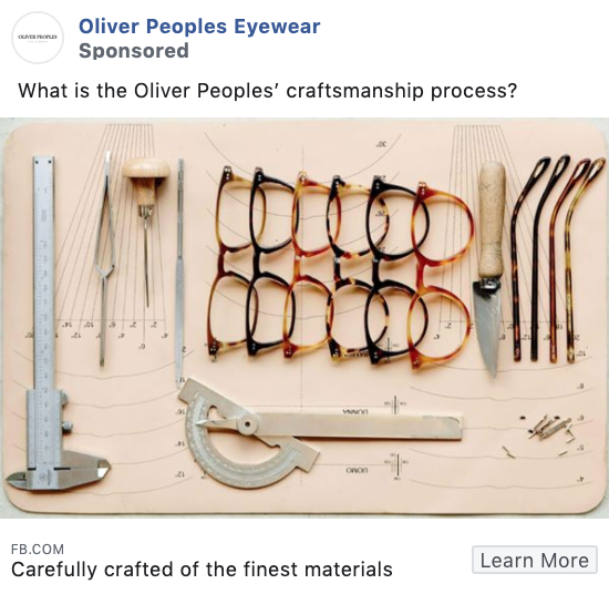 Oliver Peoples product-focused Facebook ad example