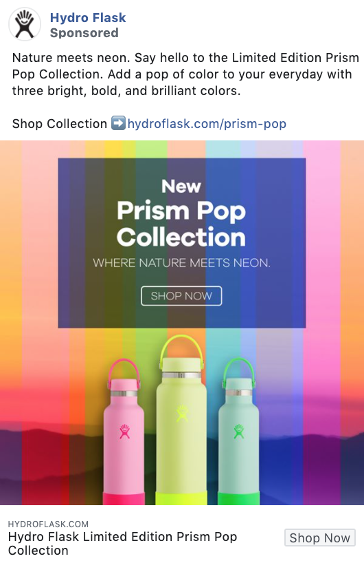 Hydro Flask product-focused Facebook ad example