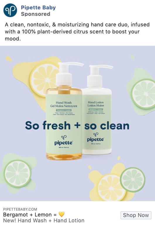 Pipette product-focused Facebook ad example