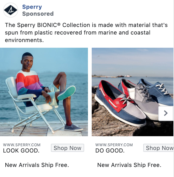 Sperry product-focused Facebook ad example